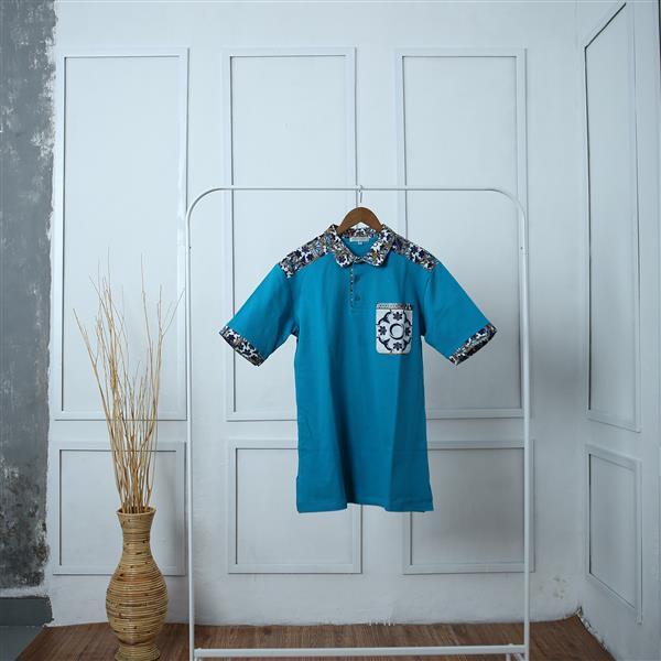 Blue Kintsugi Short Sleeve Shirt Batik Fractal Uniform
