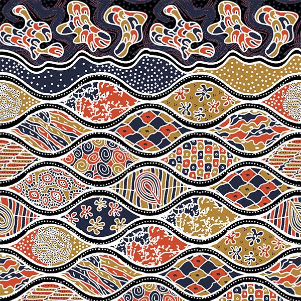 Thumbnail Motif Batik Fractal Sido Drajat Cerma Biru Kuning Orange