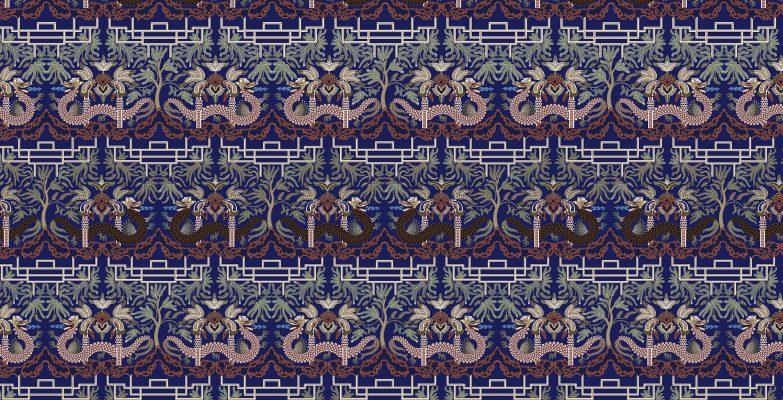 Motif Batik Fractal Naga Mumbul Biru Merah
