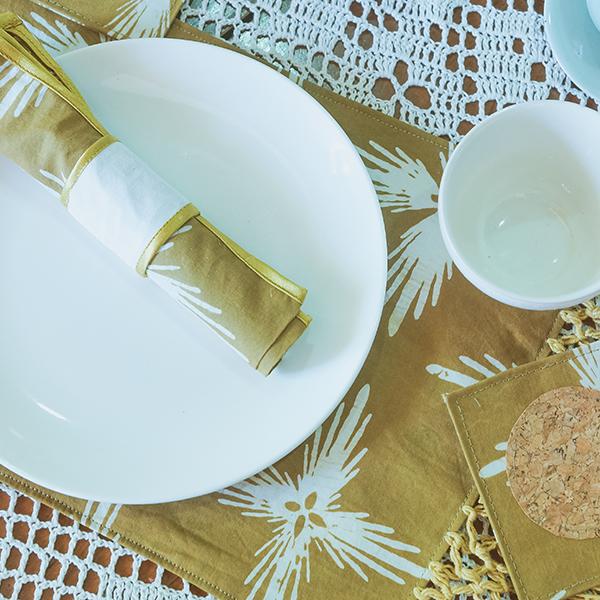 Mustard Bintang GemintangPlacemat, Napkin and Ring and Coaster 2 Batik Fractal Home Decor