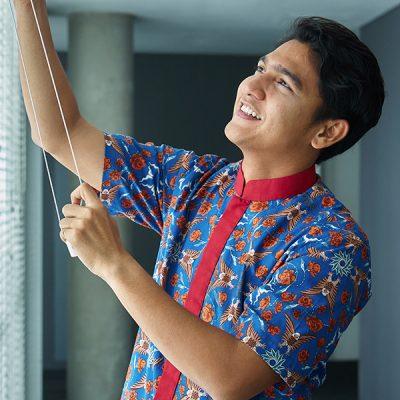 Blue Sekar Beri Short Sleeve Shirt Batik Fractal Uniform