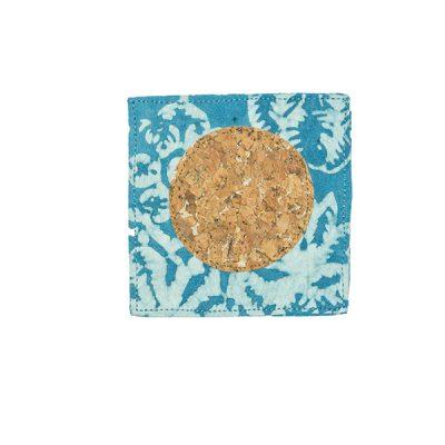 Blue Kembang Setaman Coaster Batik Fractal Home Decor