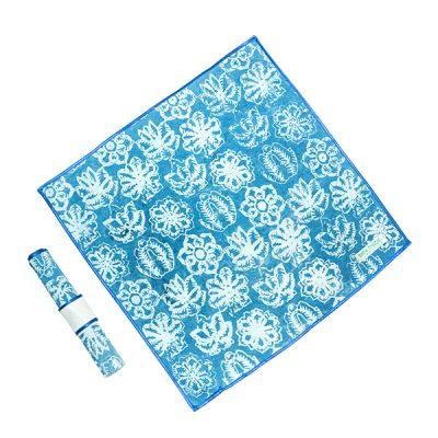 Blue Kembang Setaman Napkin and Ring Batik Fractal Home Decor