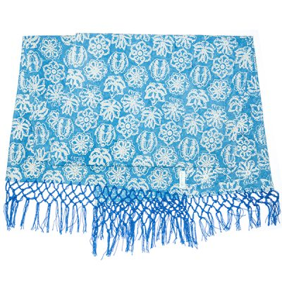 Blue Kembang Setaman Table Runner Batik Fractal Home Decor