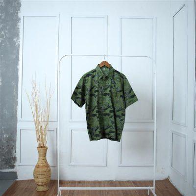 Green Marasari Short Sleeve Man Shirt Batik Fractal Uniform