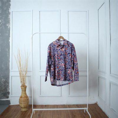 Blue Megamendung Antawung Long Sleeve Shirt 1 Batik Fractal Uniform