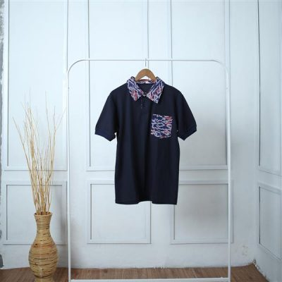 Black Megamendung Antawung Polo Short Sleeve Shirt 2 Batik fractal Uniform