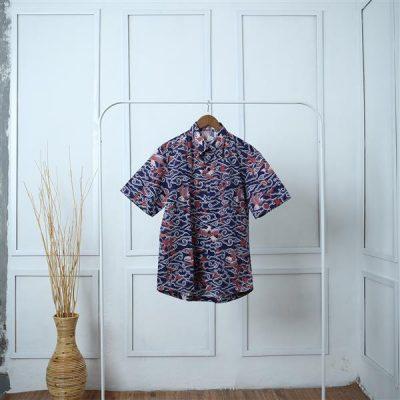 Blue Megamendung Antawung Short Sleeve Shirt 1 Batik Fractal Uniform