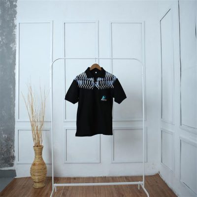 Black Parang Bogang Short Sleeve Shirt Batik Fractal Uniform