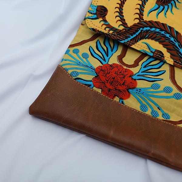 Brown Sulur Bidho Sidi Laptop Sleeve 4 Batik Fractal Merchandise