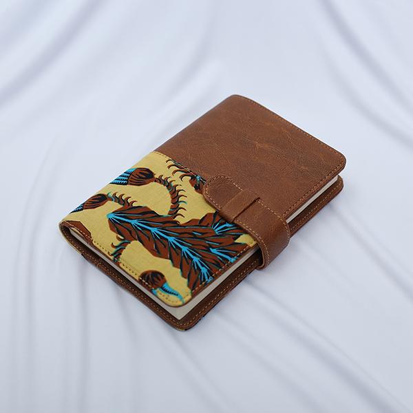 Brown Sulur Bidho Sidi HALF LEATHER NOTEPAD 2 Batik Fractal Merchandise