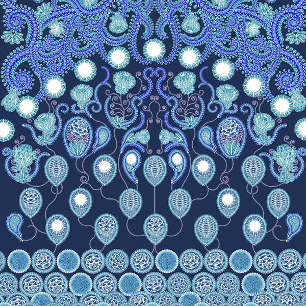 Thumbnail Motif Batik Fractal Kembang Lunglungan Biru