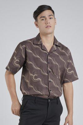 Brown Padi Batik Fractal Casual Men Shirt 1