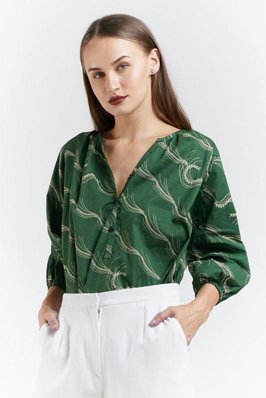 Green Padi Batik Fractal Casual Women Puff Blouse 1