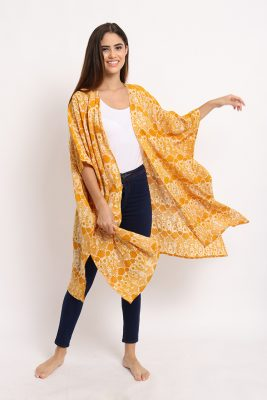 Melik Marigold Batik Fractal Casual Women Long Outer 2
