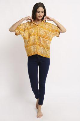Melik Marigold Batik Fractal Casual Women Shirt 1