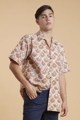 Brown Sisik Batik Fractal Casual Men Shirt 2