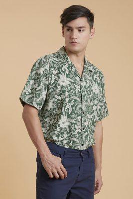 Green Telang Batik Fractal Casual Men Shirt 2