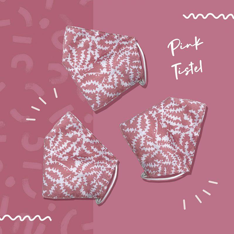 Pink Tistel Batik Fractal Mask 2