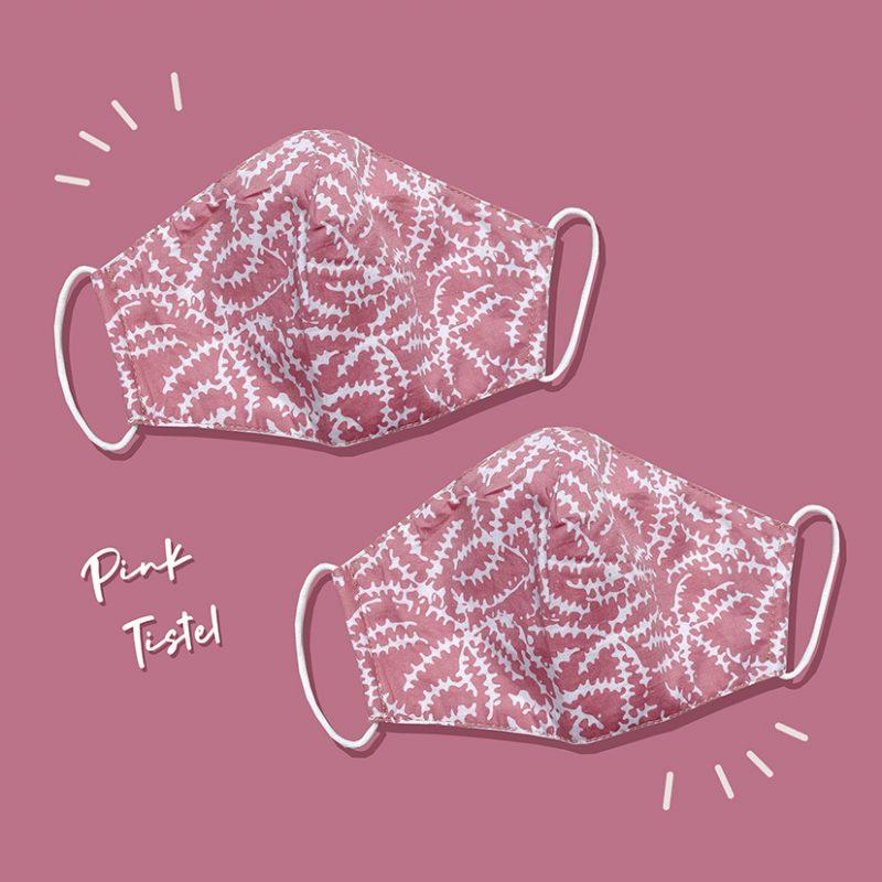 Pink Tistel Batik Fractal Mask 3