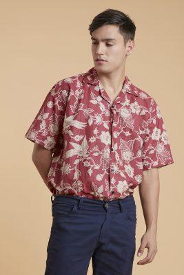 Red Canary Batik Fractal Casual Men Shirt 3