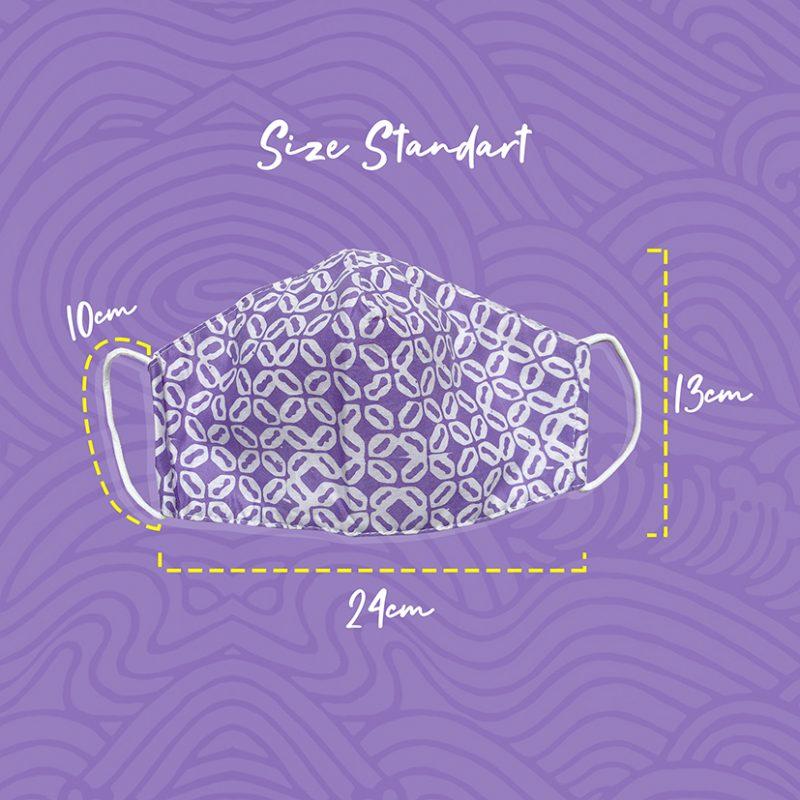 Violet Kawung Batik Fractal Mask Size Standart Dimension