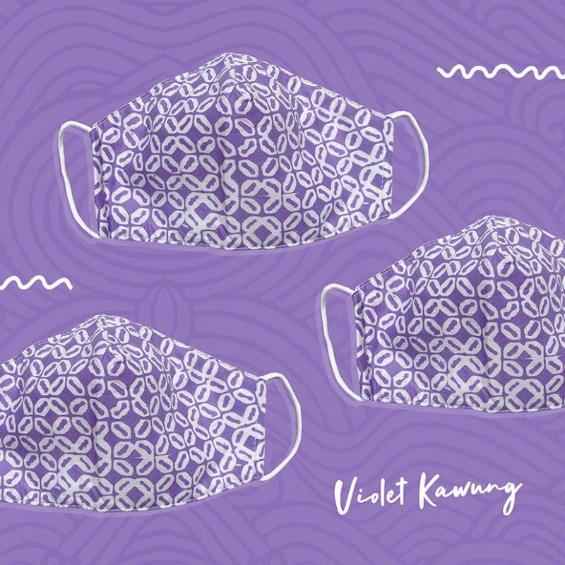 Violet Kawung Batik Fractal Mask 4