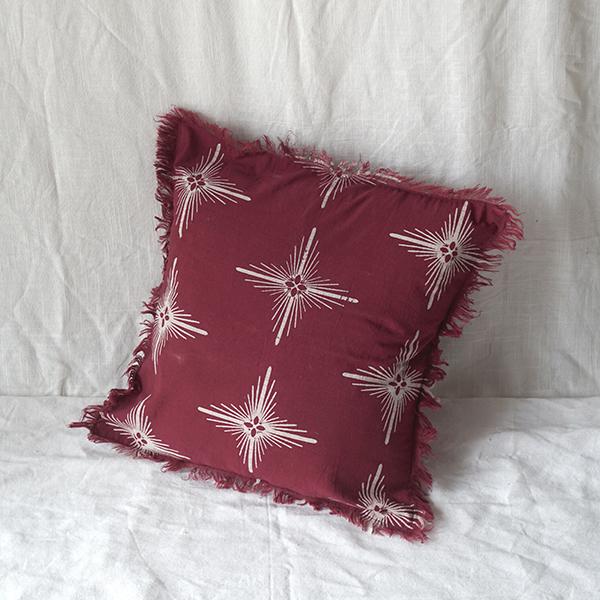 red star square cushion Batik Fractal Home Decor 1