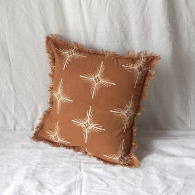 yellow star square cushion Batik Fractal Home Decor 1