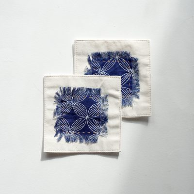 blue kawung coaster Batik Fractal Home Decor