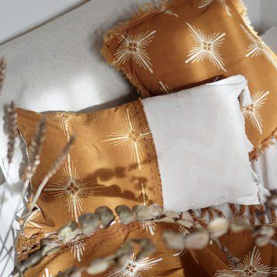 yellow star rectangular cushion Batik Fractal Home Decor