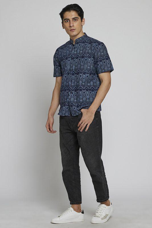 Melik Band Collar Batik Fractal Casual Men Shirt 1-3