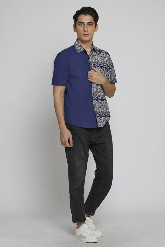 Melik Two Tone Batik Fractal Casual Men Shirt 2-4