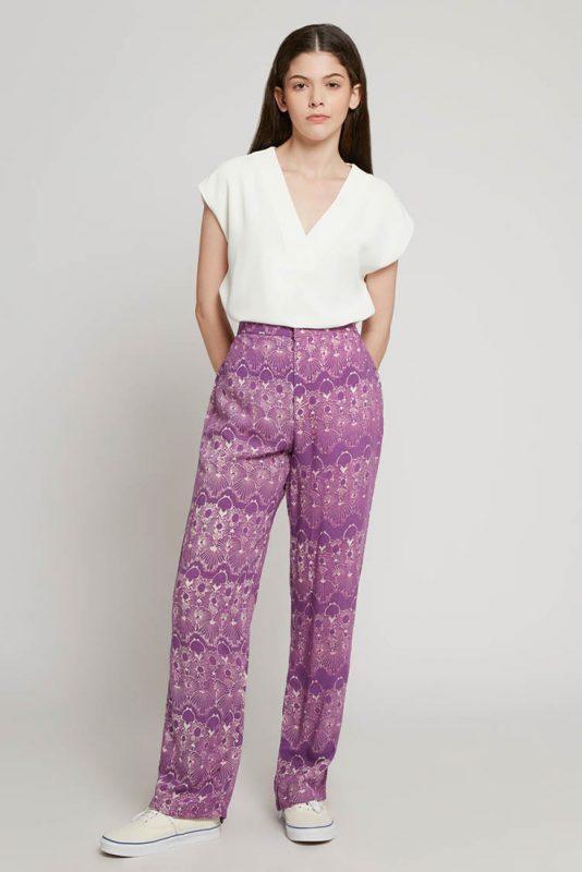 Melik Lilac Batik Fractal Casual Women Trouser 2-1