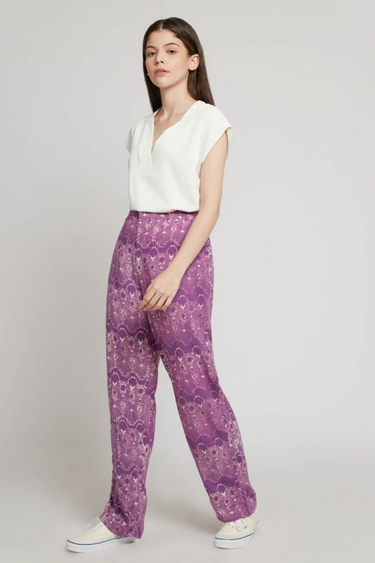Melik Lilac Batik Fractal Casual Women Trouser 2-3
