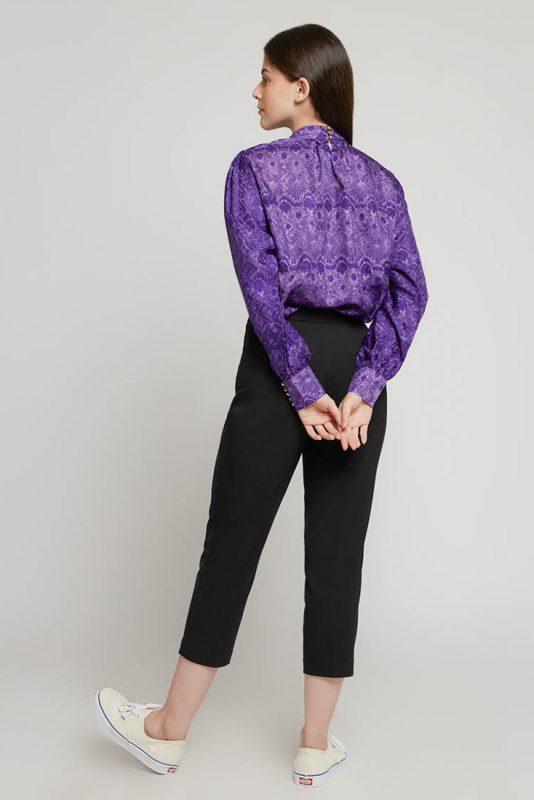 Melik Orchid High Neck Batik Fractal Casual Women Blouse 3-5