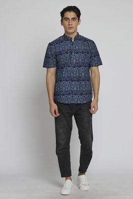 Melik Band Collar Batik Fractal Casual Men Shirt
