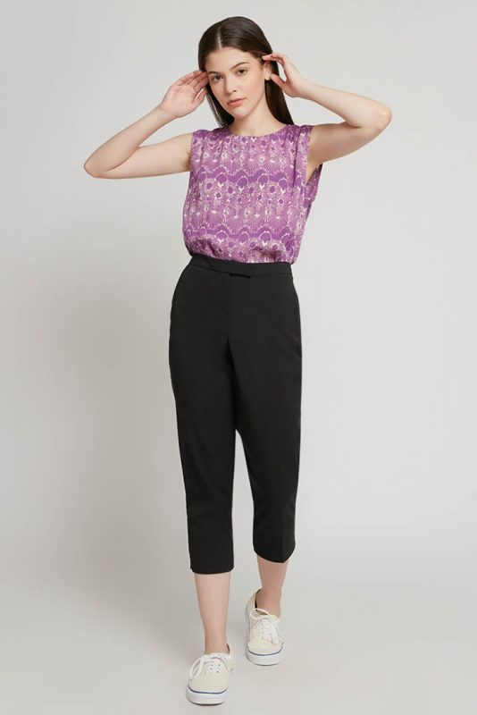 Lilac Sleeveless Batik Fractal Casual Women Top