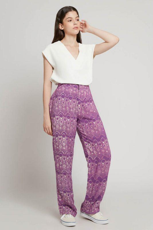 Melik Lilac Batik Fractal Casual Women Trouser