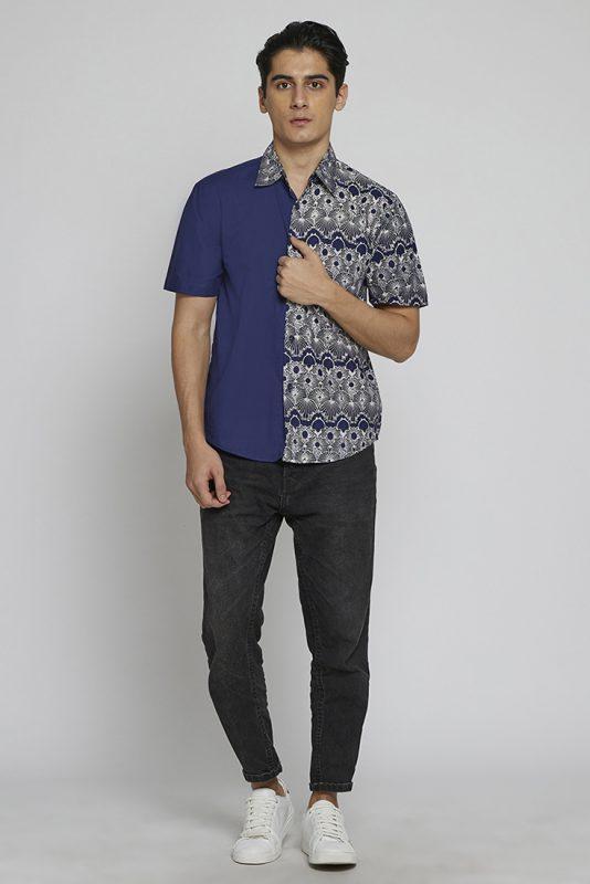 Melik Two Tone Batik Fractal Casual Men Shirt