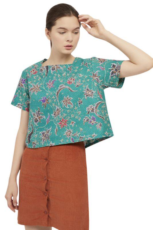 Anggrek Hijau Batik Fractal Casual Women Blouse 1
