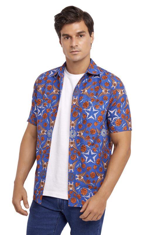 Elang Biru Batik Fractal Casual Men Shirt 1