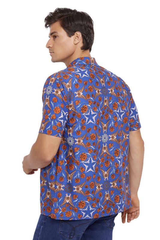 Elang Biru Batik Fractal Casual Men Shirt 3