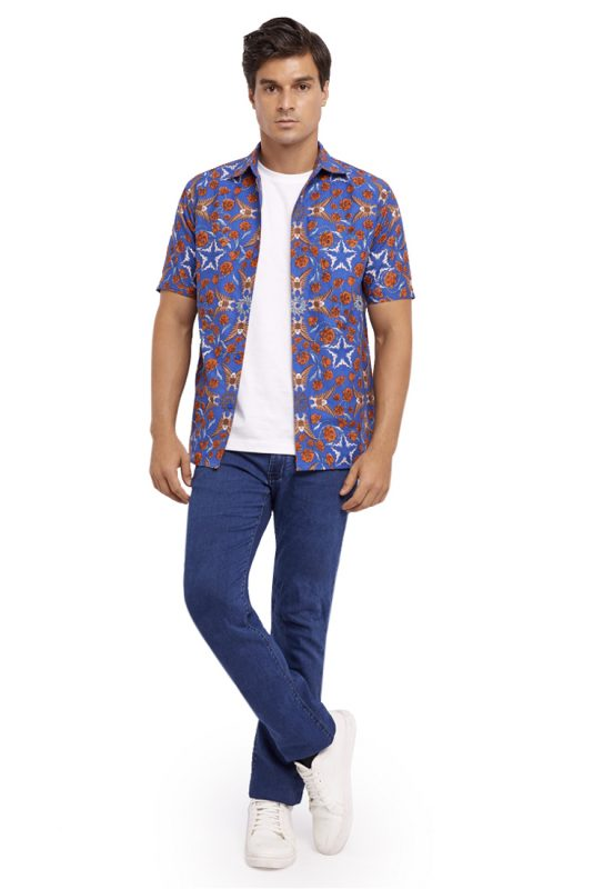 Elang Biru Batik Fractal Casual Men Shirt 5