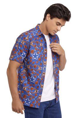 Elang Biru Batik Fractal Casual Men Shirt 2
