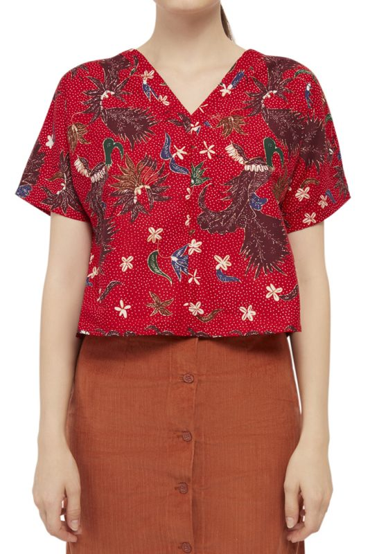 Merak Merah Batik Fractal Casual Women Blouse 4