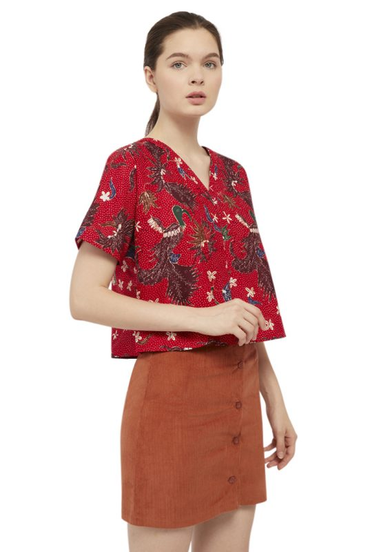 Merak Merah Batik Fractal Casual Women Blouse 2
