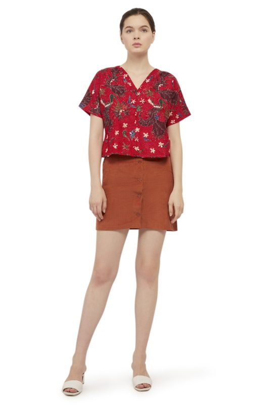 Merak Merah Batik Fractal Casual Women Blouse 5