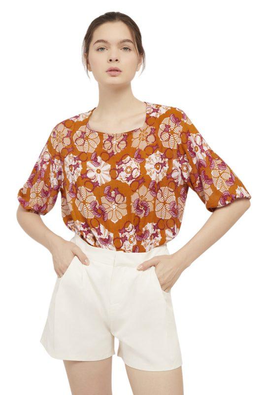 Padma Puff Sleeve Batik Fractal Casual Women Blouse 1