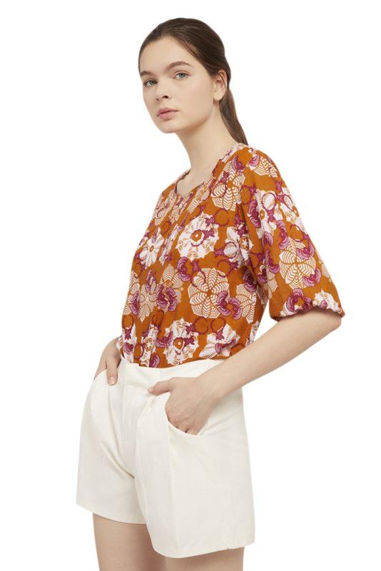 Padma Puff Sleeve Batik Fractal Casual Women Blouse 2